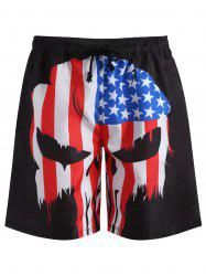 American Flag Pattern Swim Trunks -