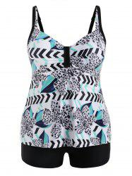Plus Size Flower Leopard Tankini Set -