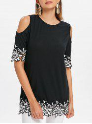 Floral Embroidery Open Shoulder T-shirt -
