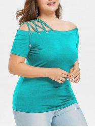 Off Shoulder Lace Up Strappy Plus Size Tee -