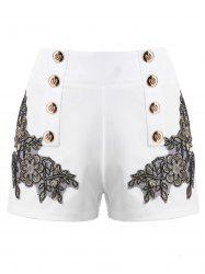 Metal Button Embroidery Shorts -