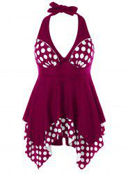 Plus Size Polka Dot Skirted Tankini -