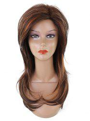 Long Side Bang Layered Colormix Straight Synthetic Wig -
