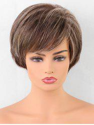 Short Oblique Fringe Colormix Straight Synthetic Wig -