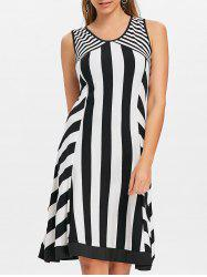 Striped Sleeveless Cut Out Casual Dress -