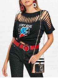 Cut Out Ripped Graphic Tee -