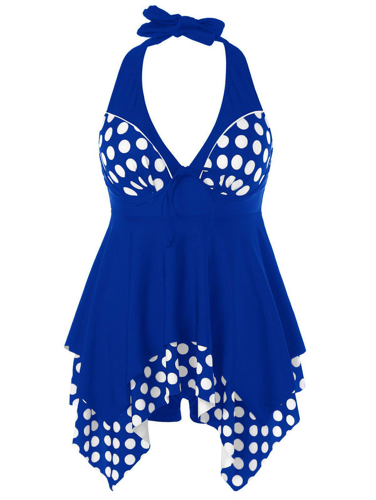 Affordable Plus Size Polka Dot Skirted Tankini