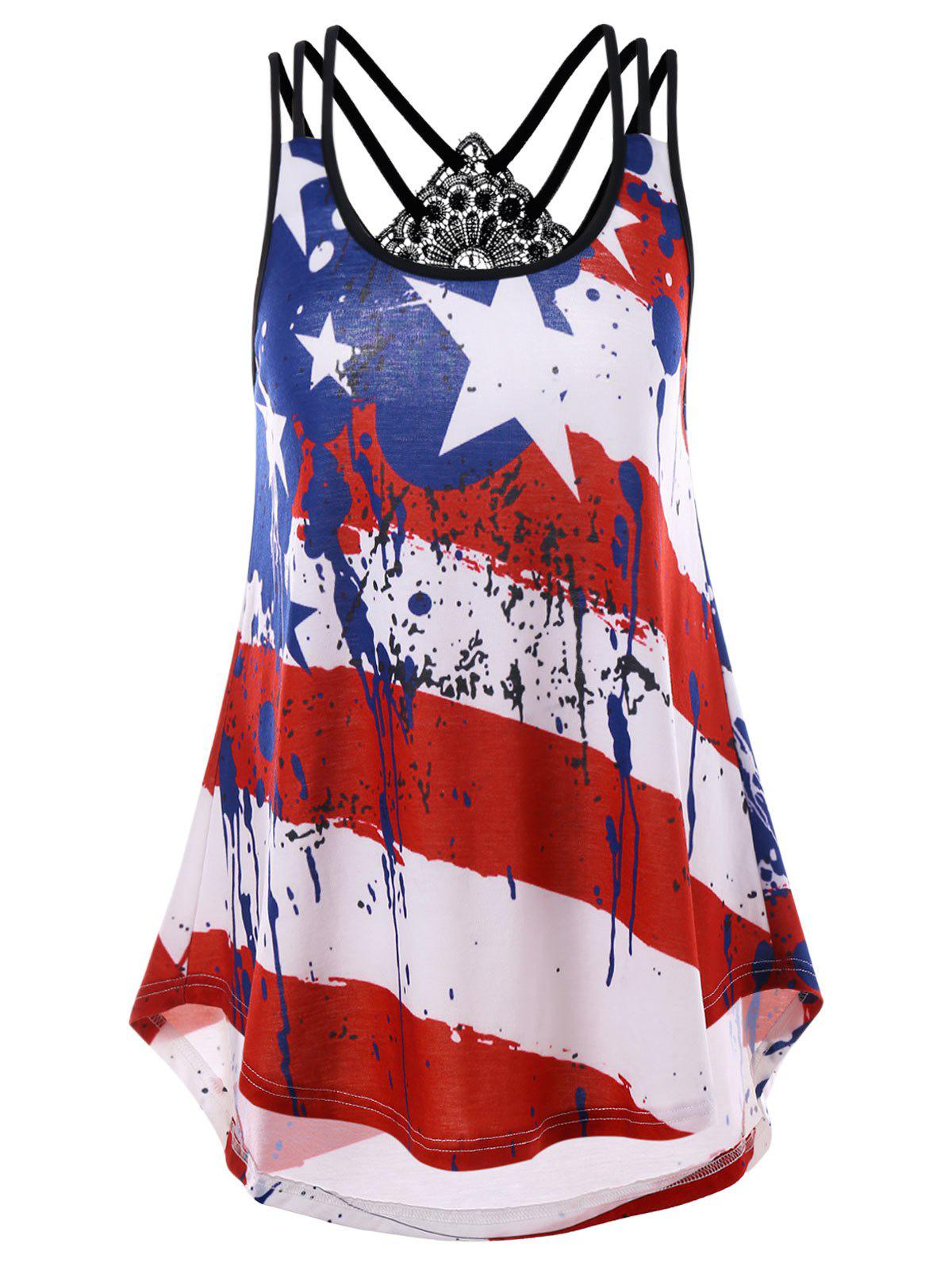 New Criss Cross American Flag Print Tank Top