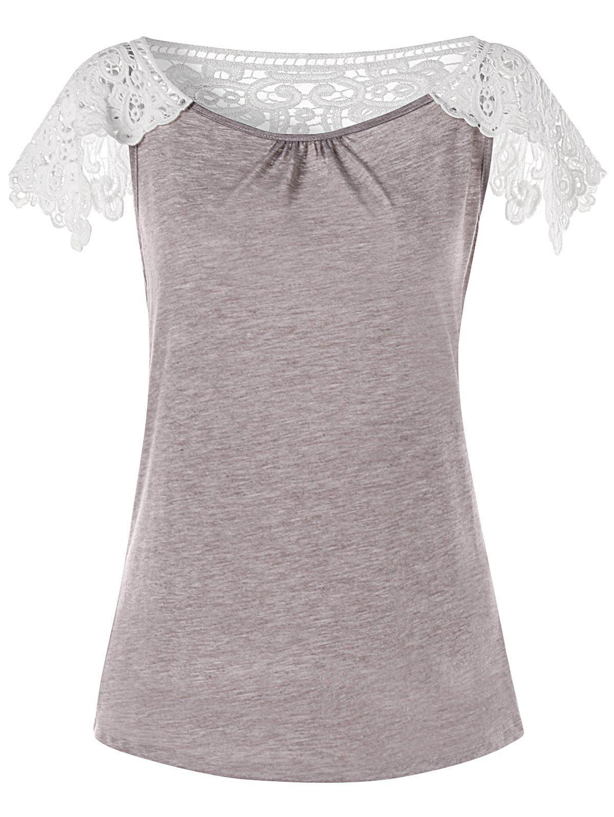 Store Crochet Lace Panel T-shirt