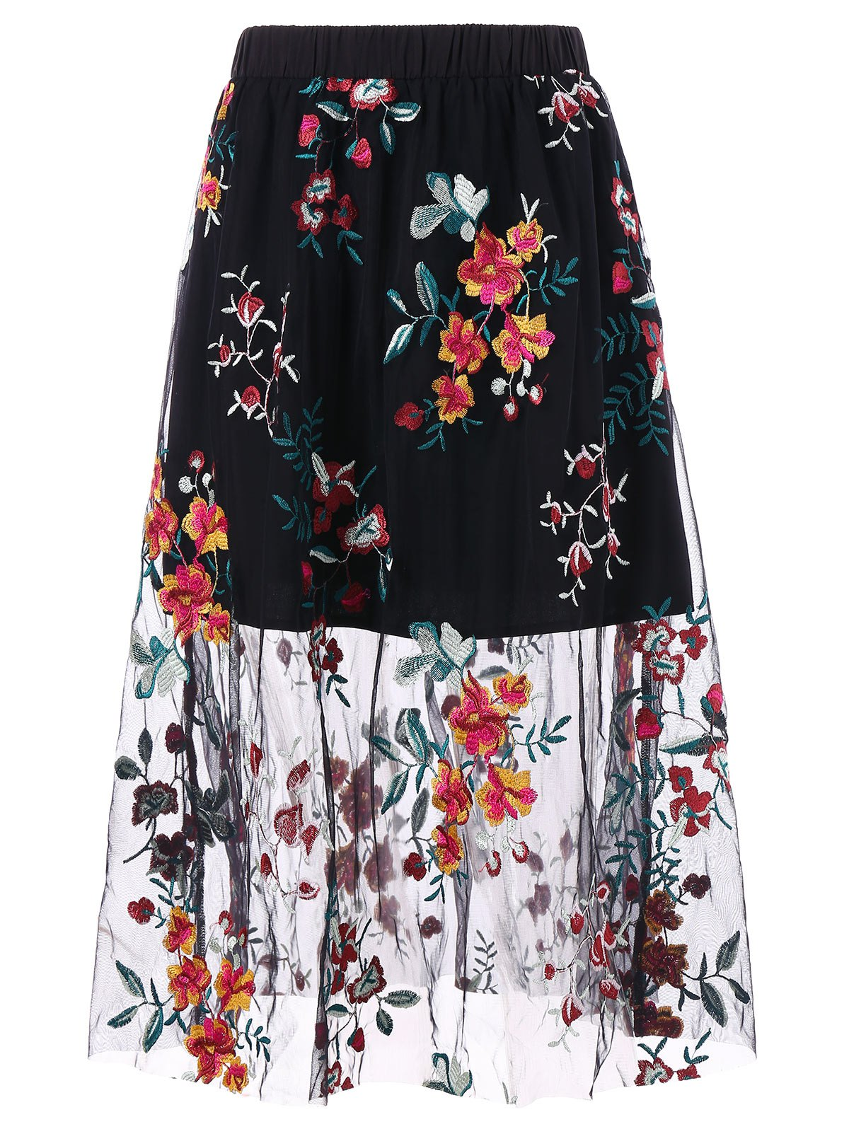 Shop High Waisted Floral Embroidery Mesh Midi Skirt