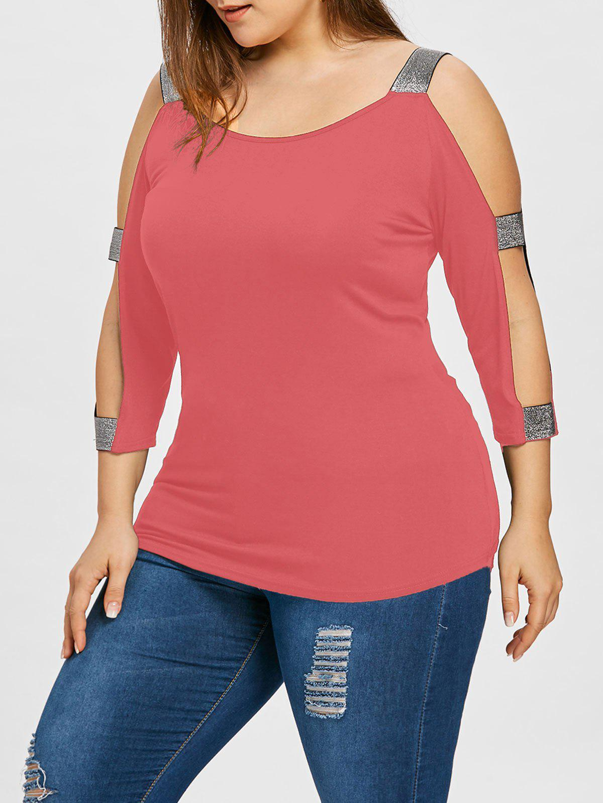 261b9dd686e1b 58% OFF   2018 Plus Size Cold Shoulder T-shirt In Watermelon Pink ...