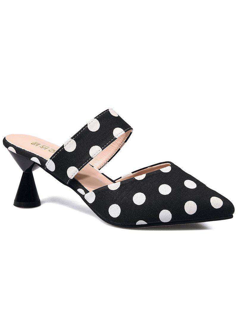 Sale Mid Heel Retro Polka Dot Mules Shoes