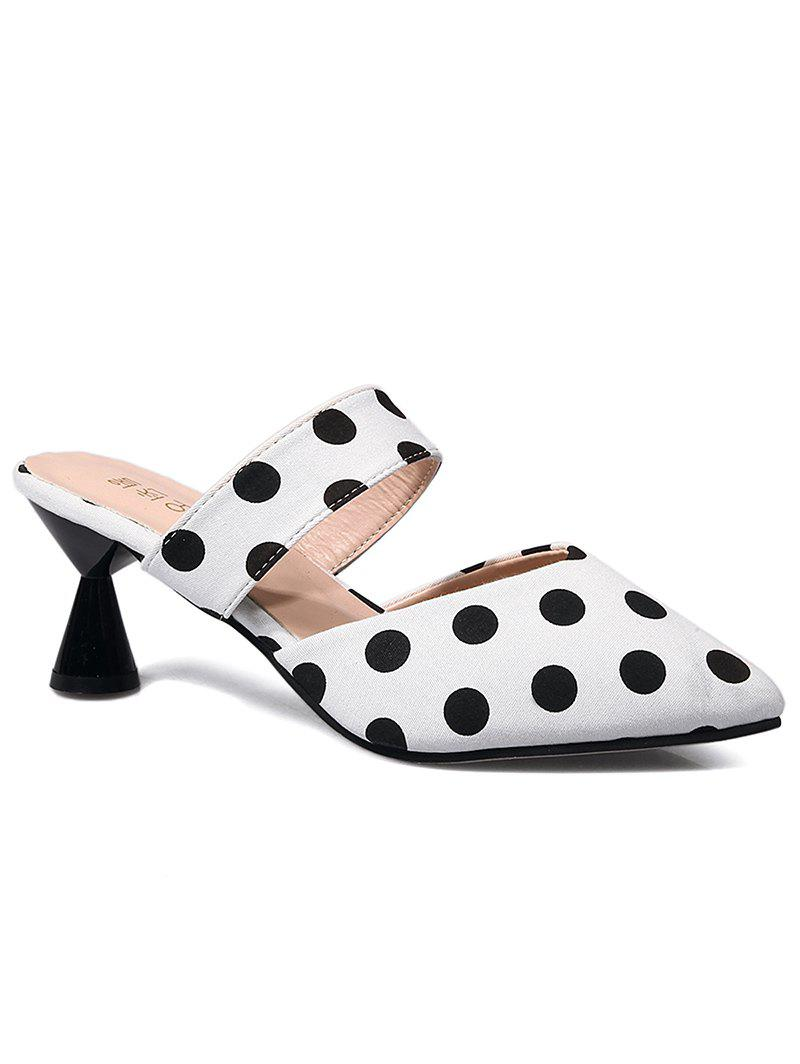 Chaussures Mules Retro Polka Dot Mid Heel
