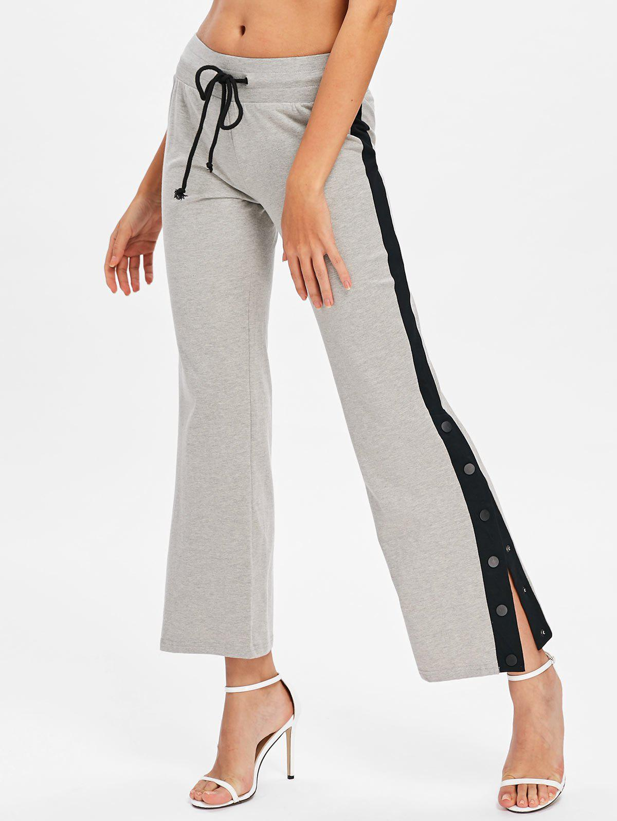 Chic Button Side Casual Ninth Pants