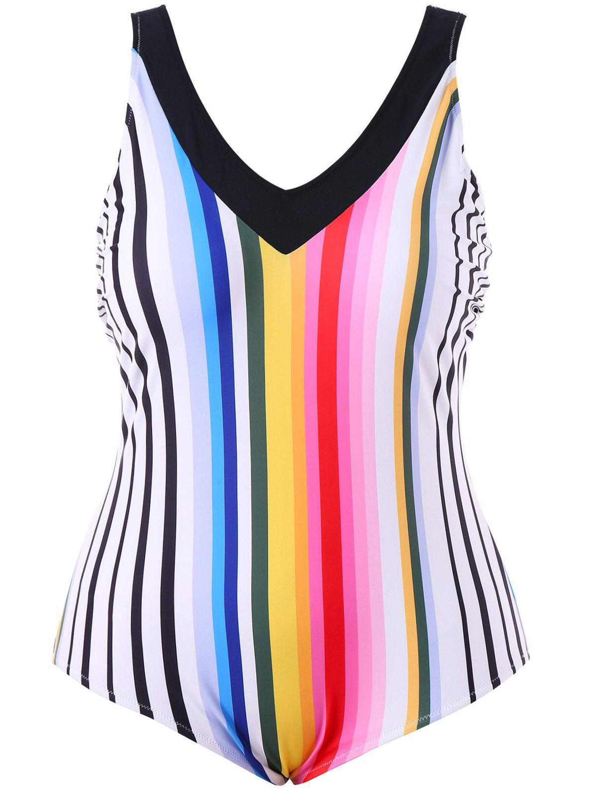 Latest Plus Size Rainbow Stripe One Piece Backless Swimwear