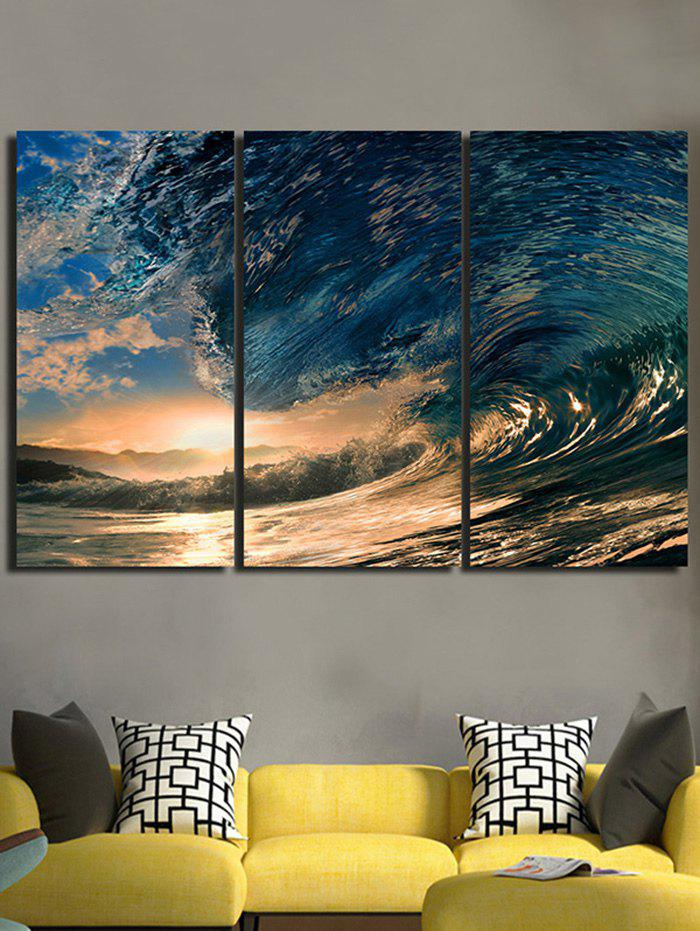 Affordable Sunset Huge Sea Waves Printed Wall Art Canvas Paintings