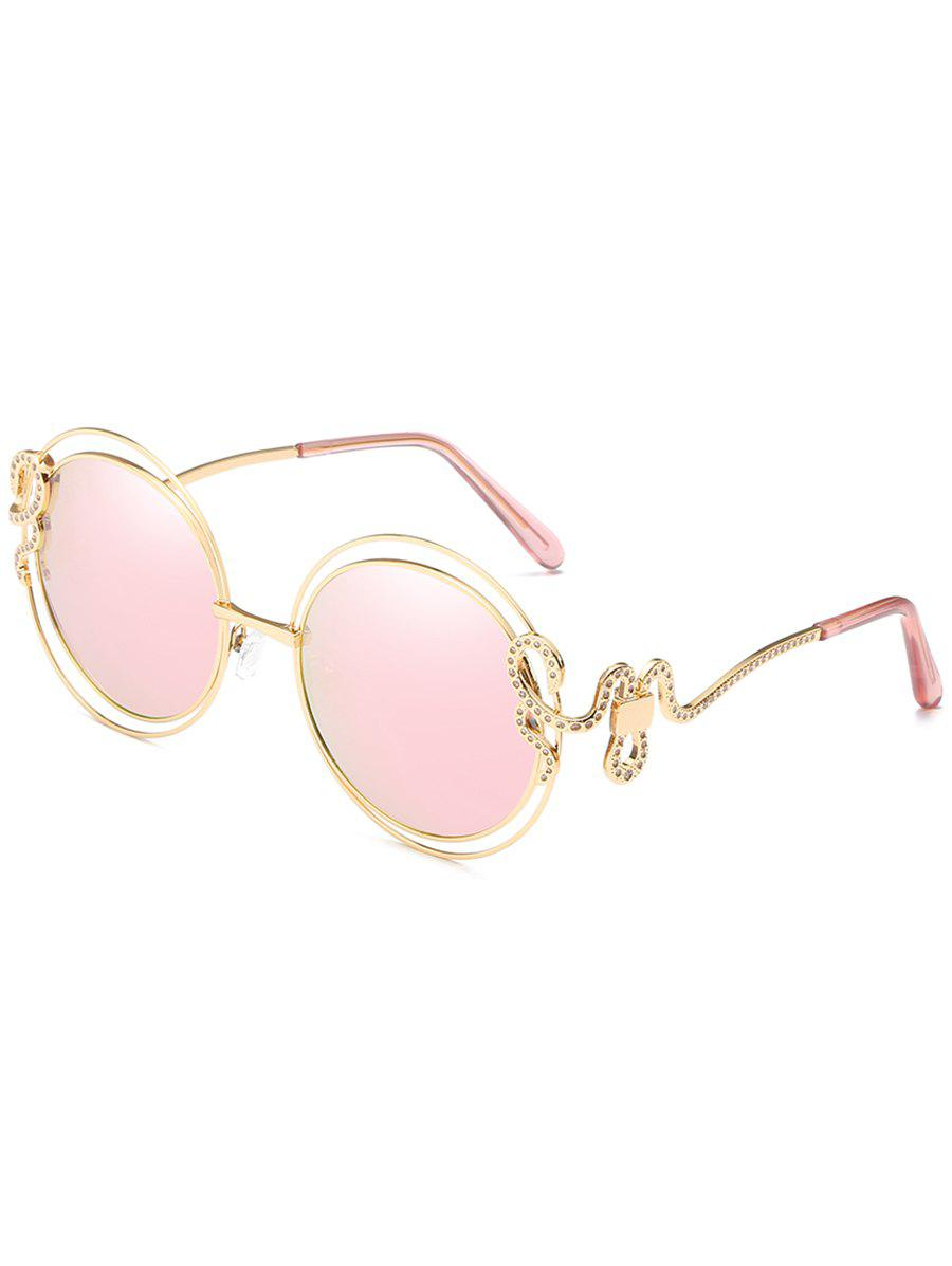 Shops Anti UV Rhinestone Inlaid Double Metal Frame Sunglasses