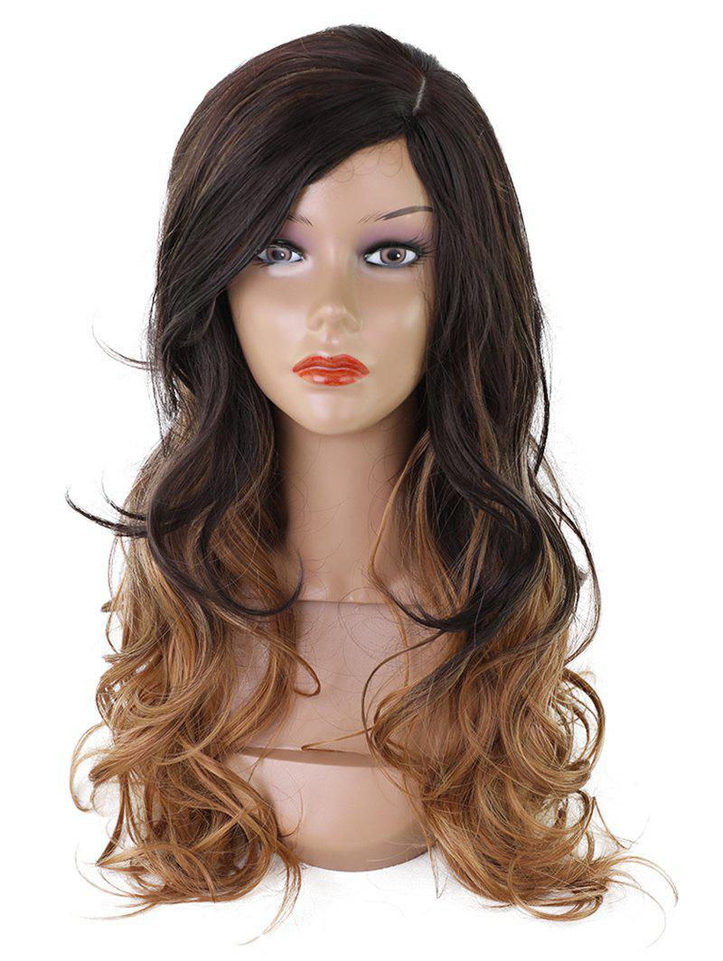 Fancy Long Side Fringe Colormix Wavy Synthetic Wig