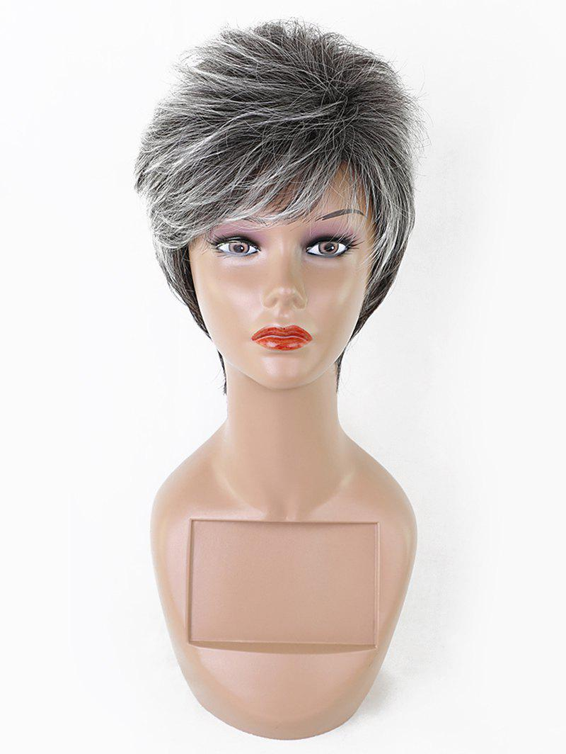 Best Short Side Bang Fluffy Straight Colormix Synthetic Wig