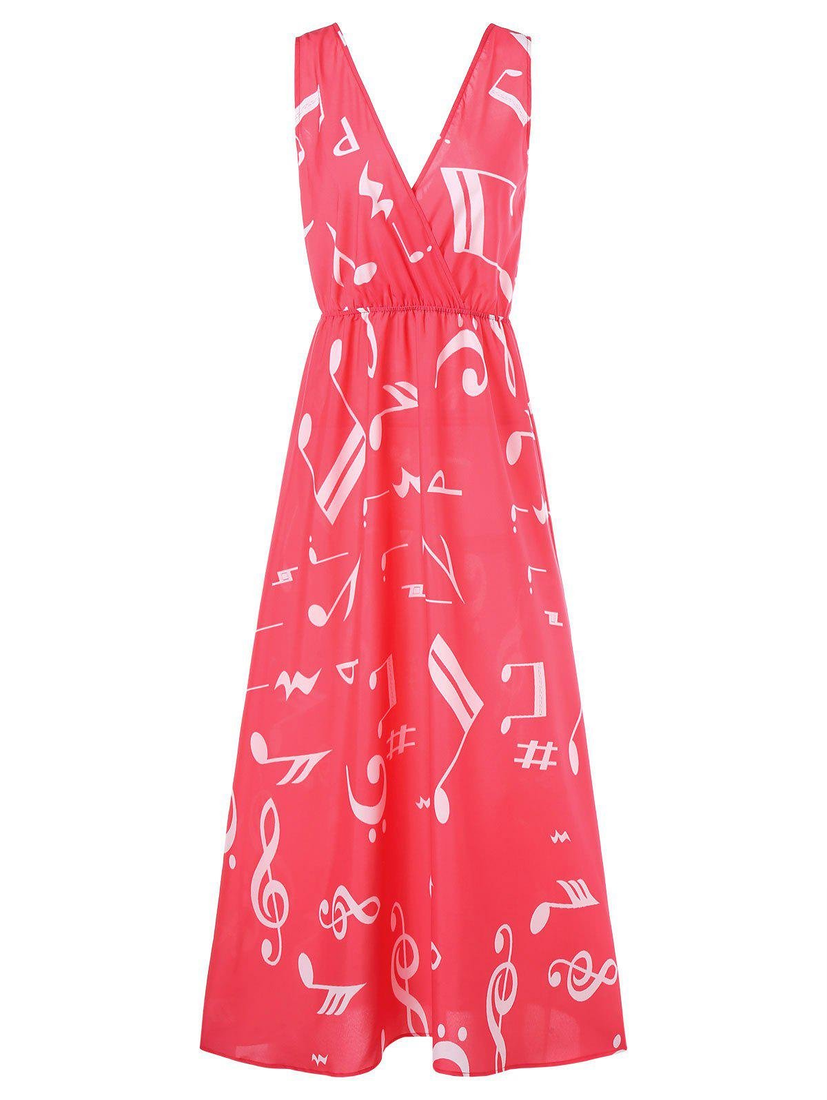 Buy Musical Notes Print Maxi Surplice Dress