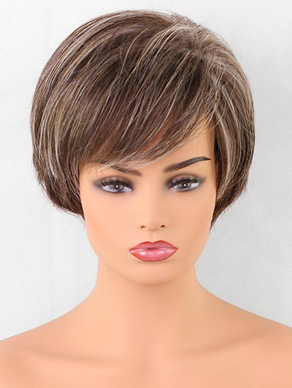 Latest Short Oblique Fringe Colormix Straight Synthetic Wig