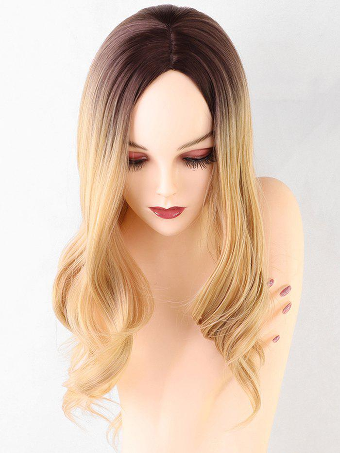 Affordable Long Center Parting Ombre Wavy Synthetic Wig
