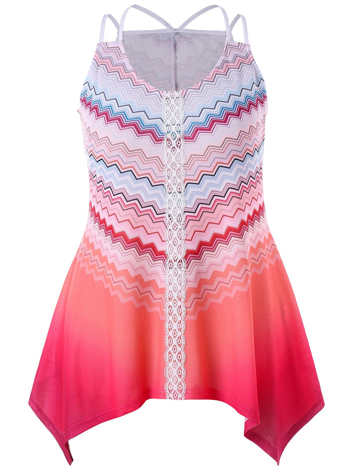 Trendy Plus Size Chevron Ombre Crescent Hem Tank Top