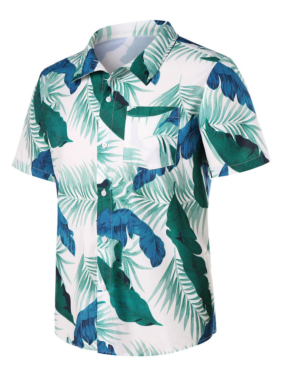 Shops Button Up Leaves Print Beach Shirt