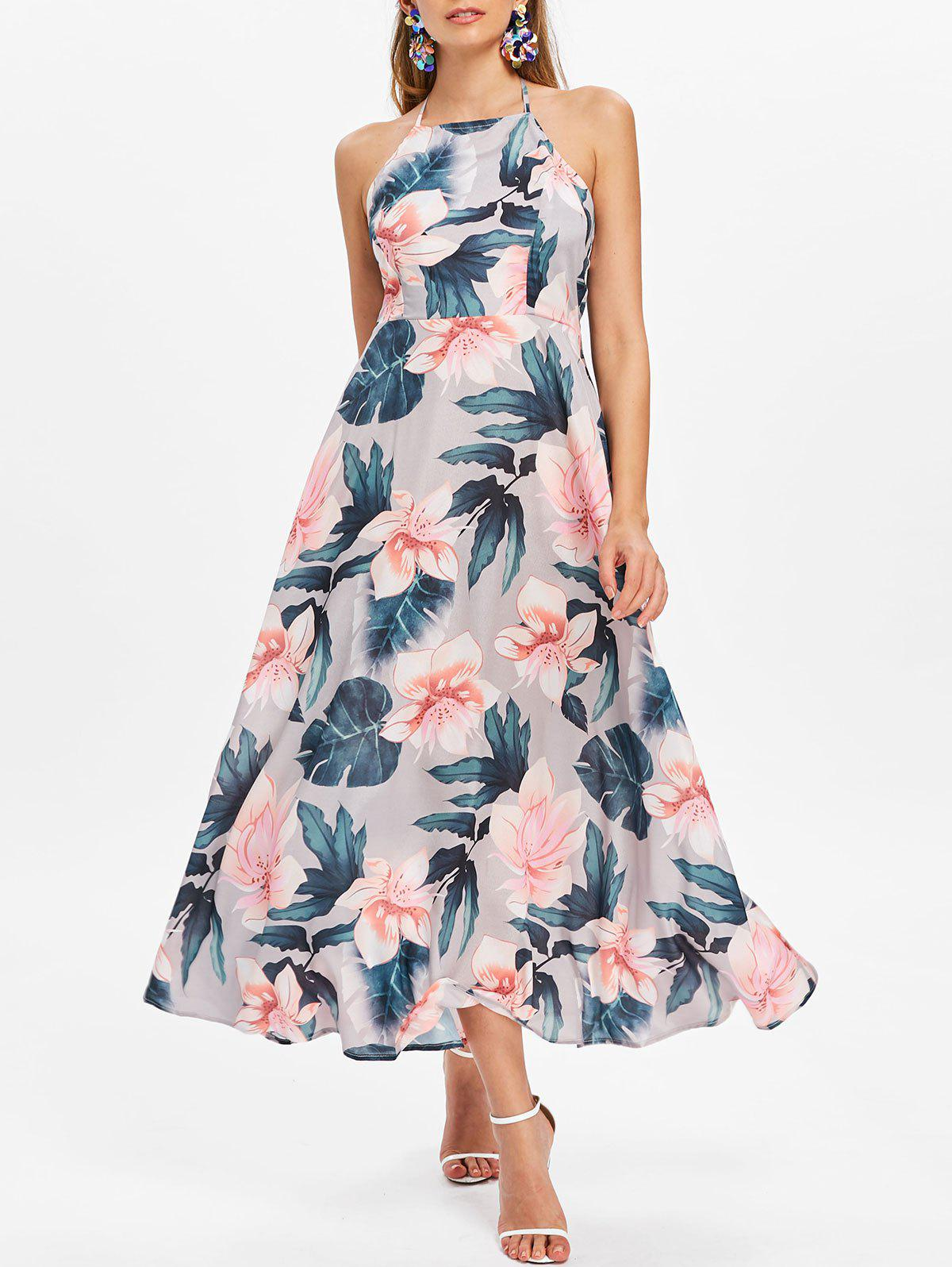 Sale Halter Floral Print Maxi Dress