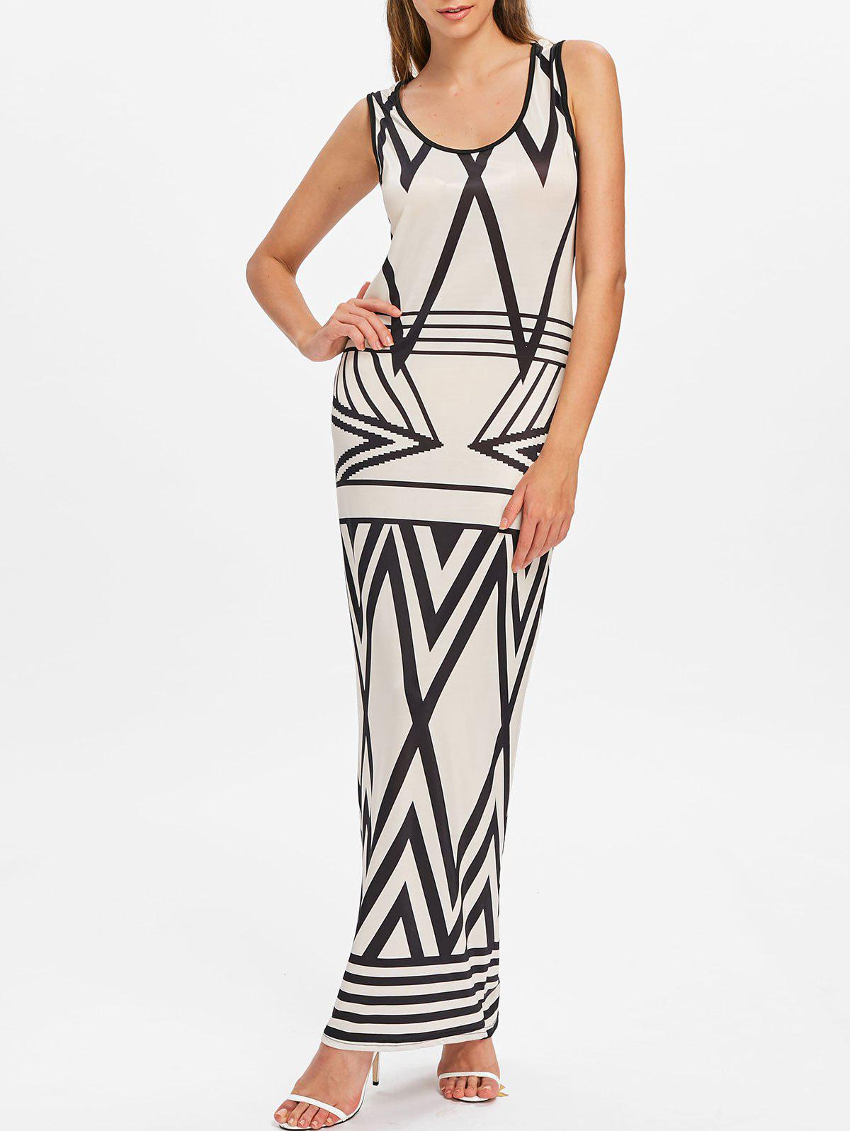 Store Geometric Pattern Sccop Neck Longline Dress