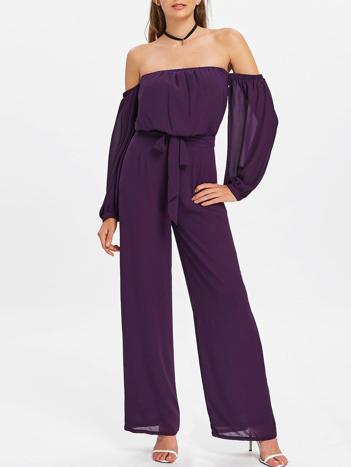 Cheap Puff Sleeves Off Shoulder Palazzo Jumpsuit
