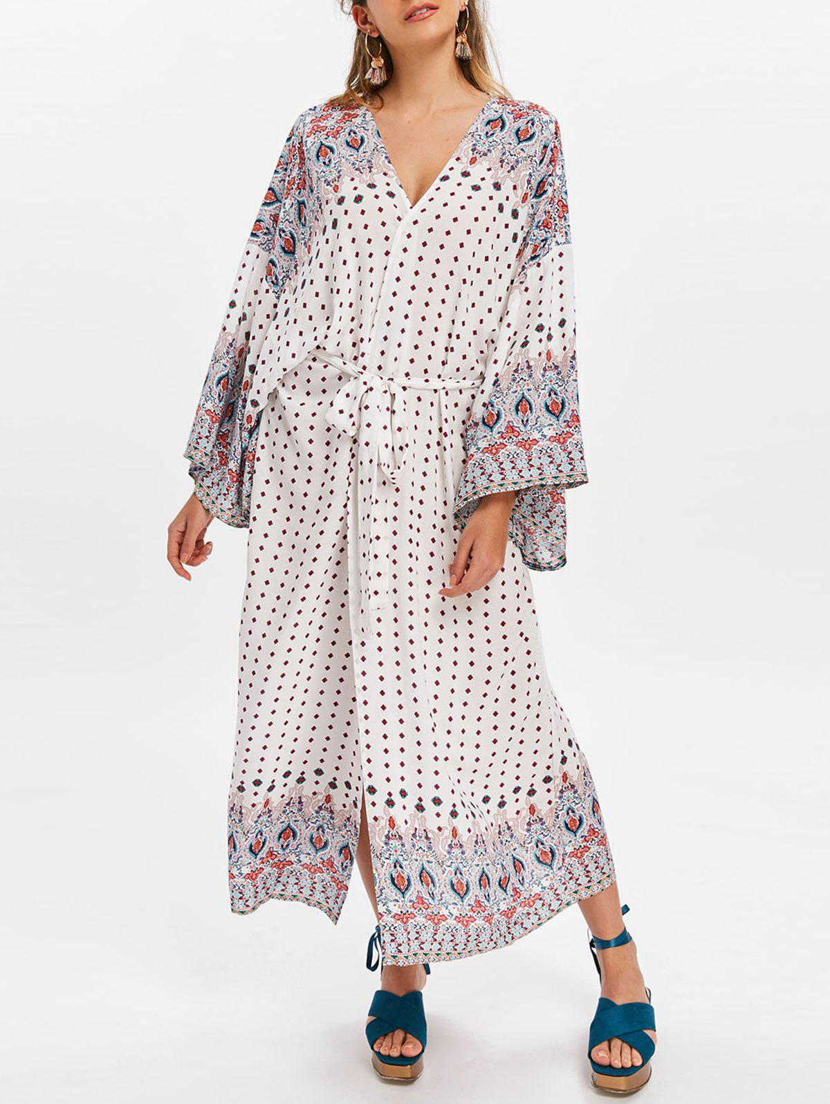 Fancy Polka Dot Cover Up Dress with Waistbelt