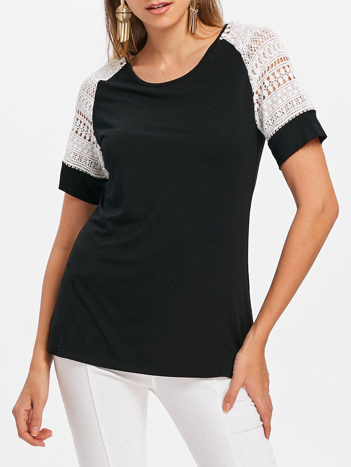 Discount Lace Insert Short Sleeve T-shirt