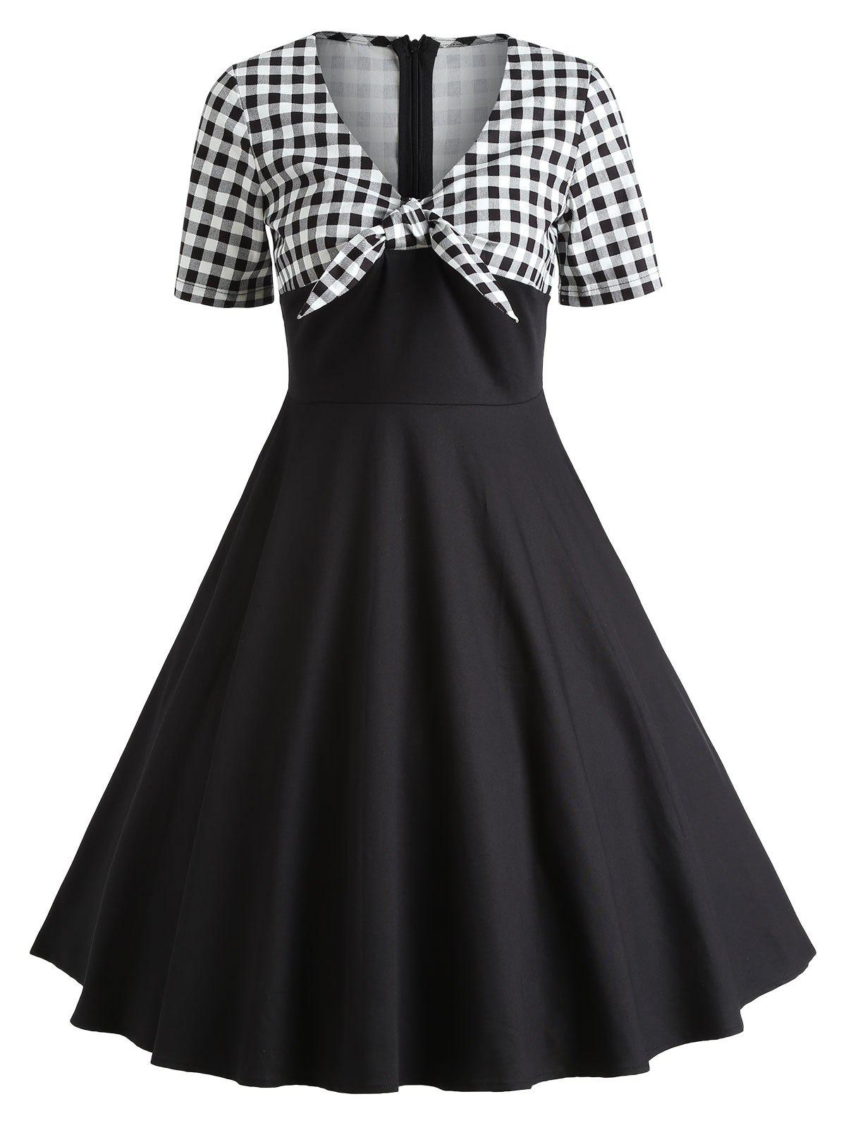 6a51ee2415 Trendy Retro Checked Bowknot Party Skater Dress