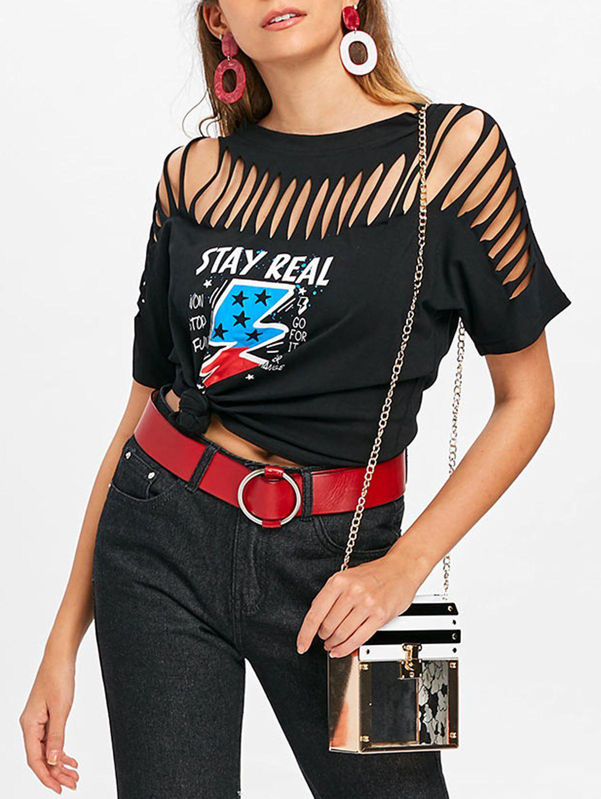 Cheap Cut Out Ripped Graphic Tee