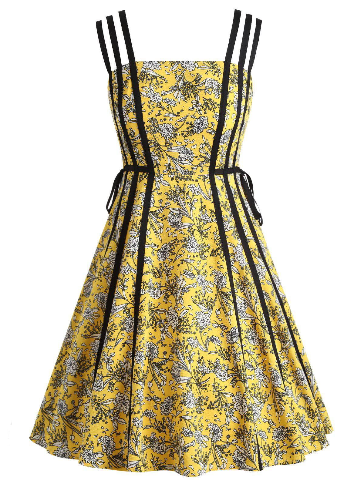 Store Floral String Straps A Line Dress