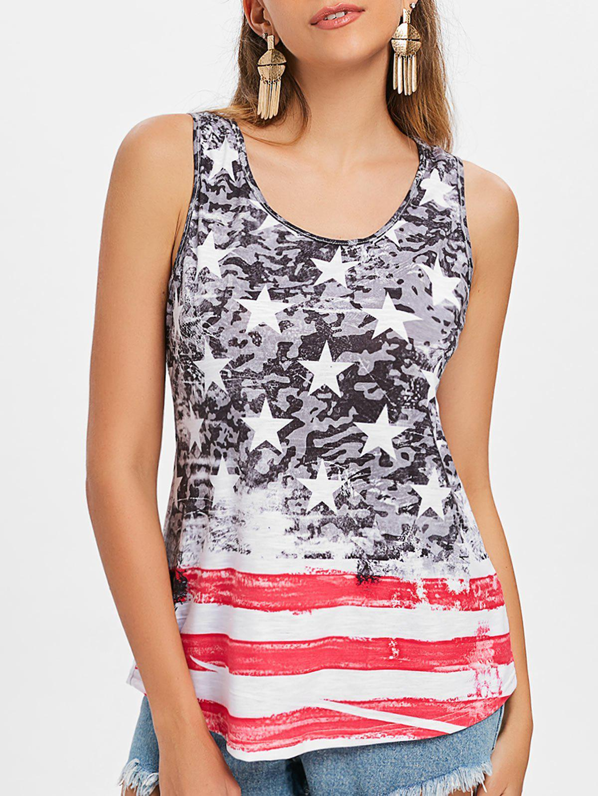 Shop American Flag Print Tank Top