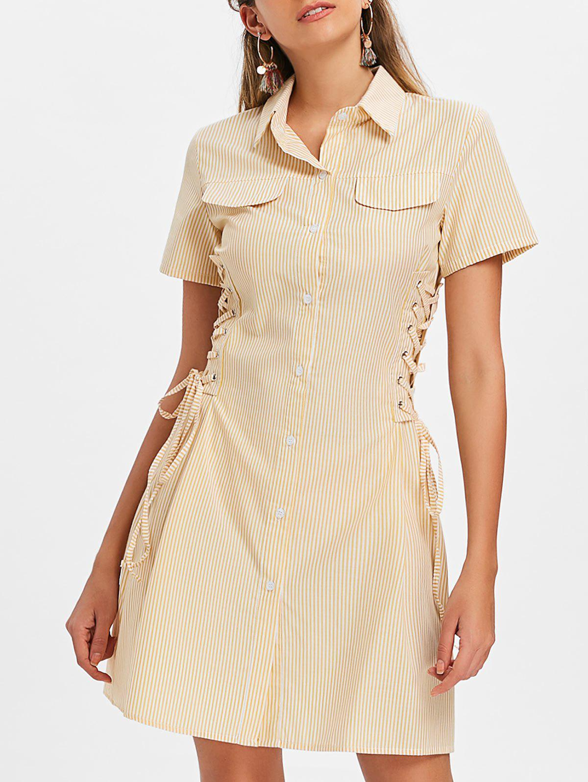 Online Button Up Lace-up Striped Dress