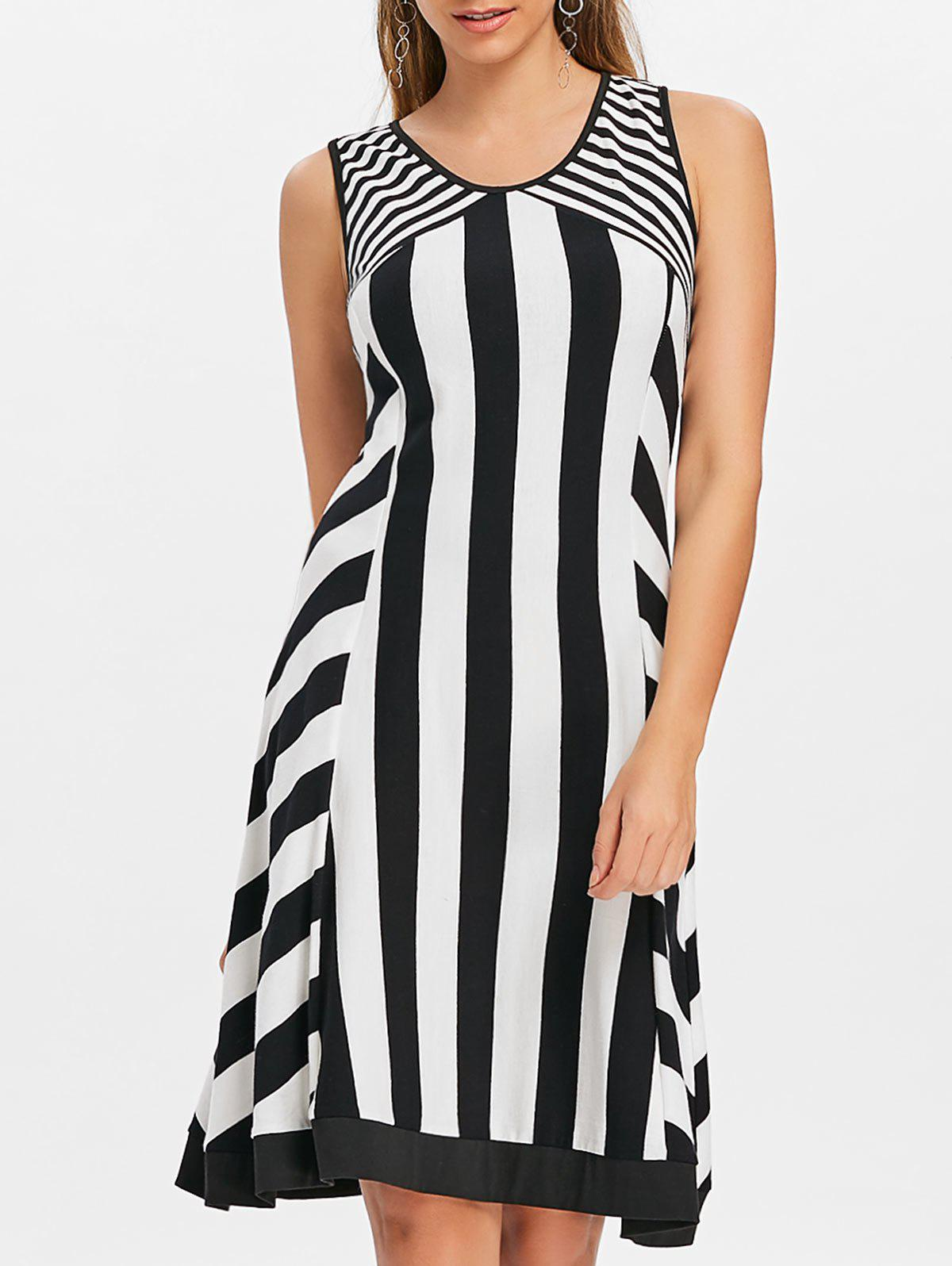 Outfit Striped Sleeveless Cut Out Casual Dress