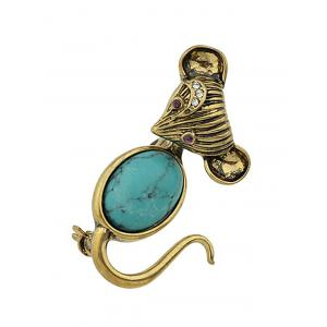 Alloy Faux Turquoise Mouse Brooch -