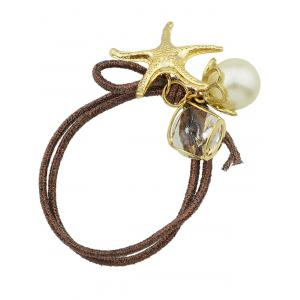 Stylish Starfish Faux Pearl Decorative Hair Elastic Band -