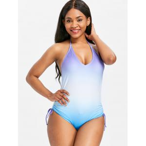 Gradient Color Elastic Side One Piece Swimwear -