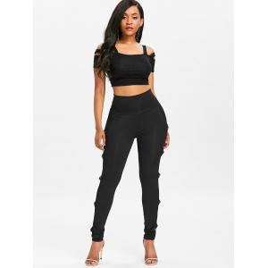 O Rings Sheer Mesh Panel Pants -