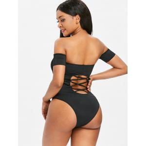 Off Shoulder Hollow Out Criss Cross One Piece Swimwear -