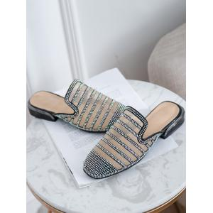 Faux Crystal Decorate Breathable Mesh Patchwork Slippers -