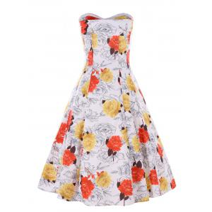 Floral Print Cocktail Strapless Dress -