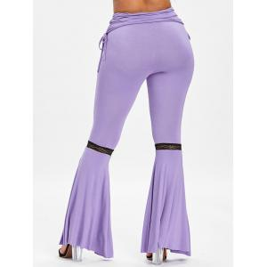 Ruched Lace Insert Slit Bell Bottom Pants -