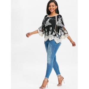 Split Sleeve Lace Embroidery Blouse -