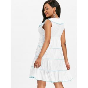 Ruched Fuzzy Ball Decor Trim Dress -