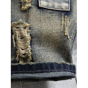 Applique Zipper Fly Destroyed Denim Shorts -
